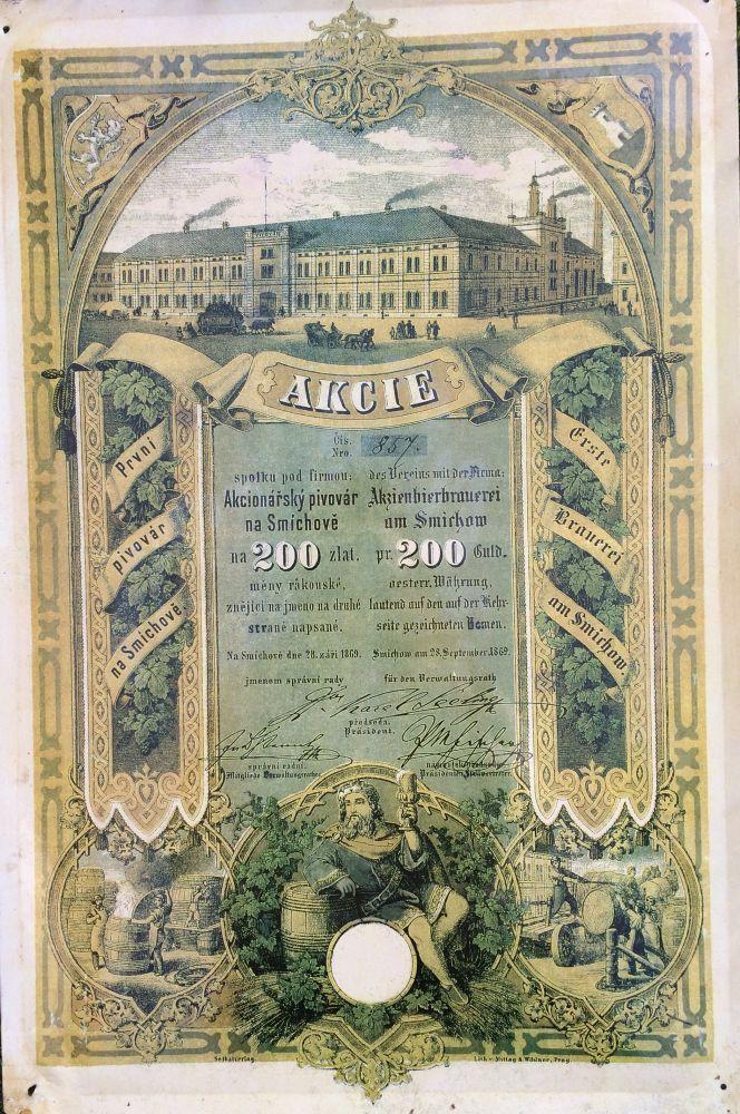 Originální plechová cedule Akcie - Akcionářský pivovar na Smíchově