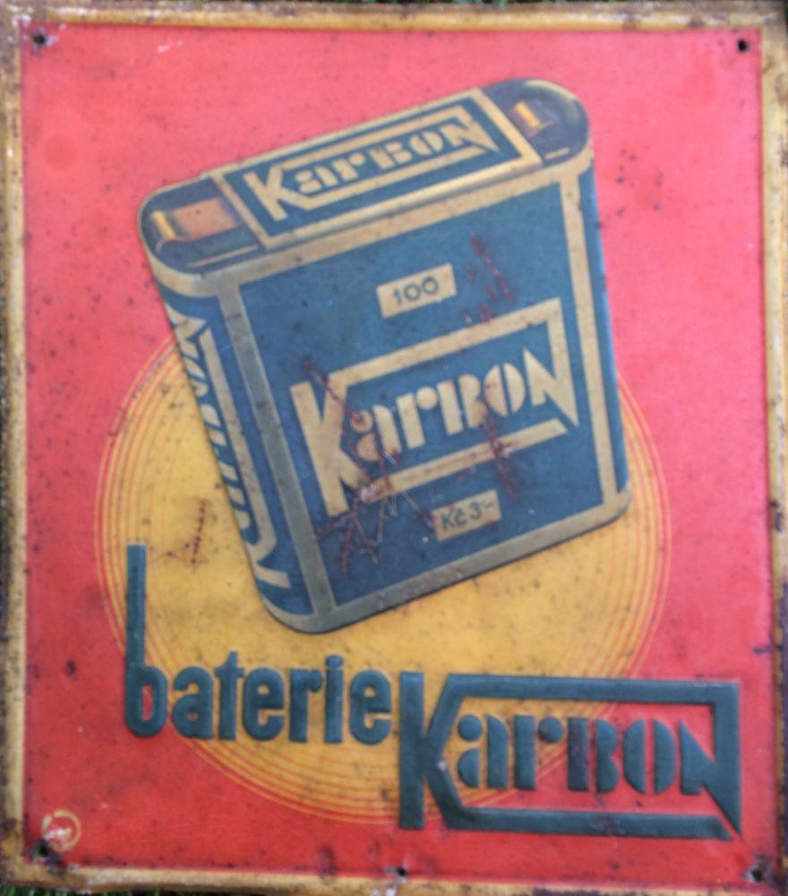Originální starožitná plechová cedule Karbon