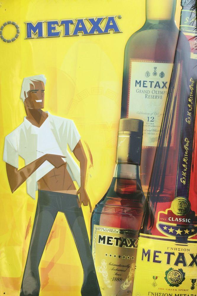 Originální plechová cedule Metaxa