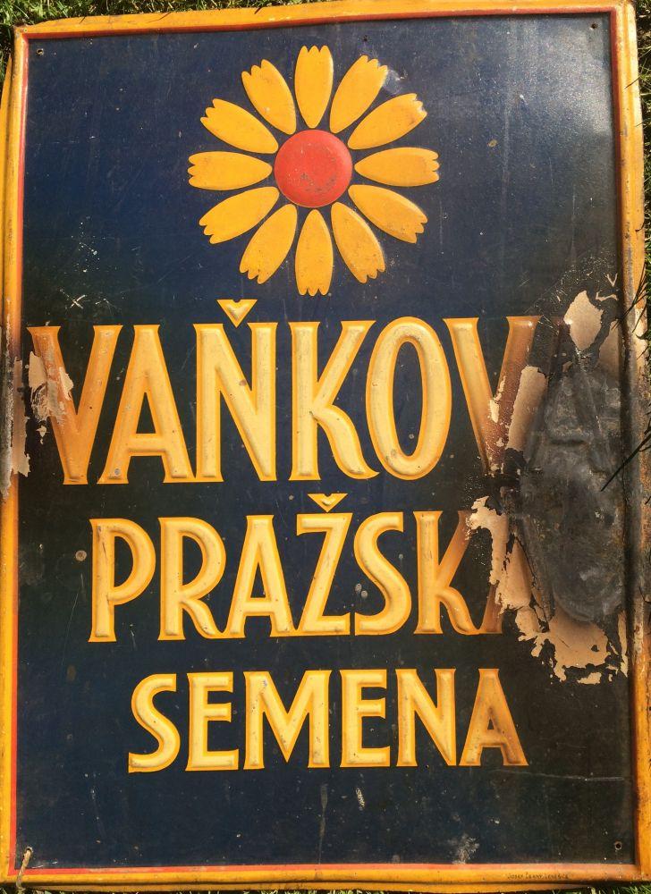 Originální starožitná plechová cedule Vaňkova pražská semena