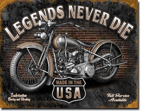 Plechová cedule motorka Legends never die
