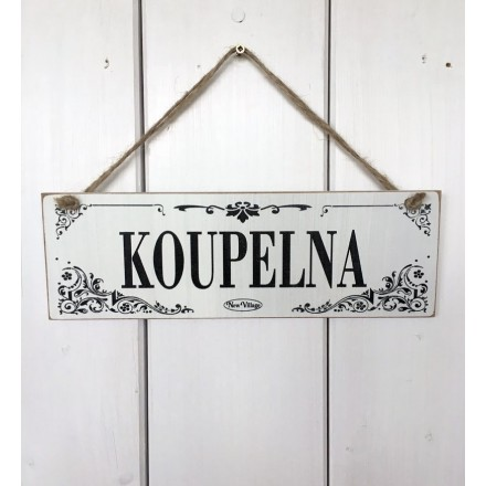Dřevěná cedule na dveře - tabulka Koupelna