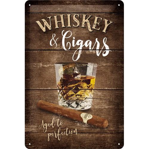 Plechová cedule Whiskey cigars