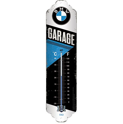 Plechový teploměr motorka BMW garage