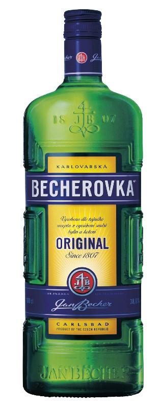 Plechová velká cedule Becherovka láhev