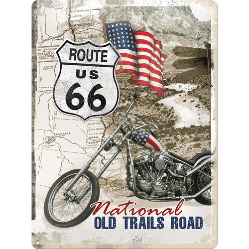 Plechová cedule U.S. Route 66 moto