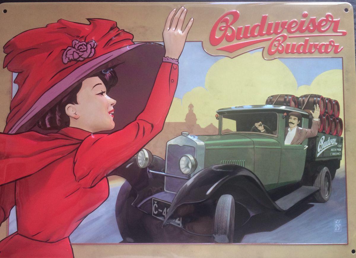 Plechová cedule Budweiser Budvar auto - pivo