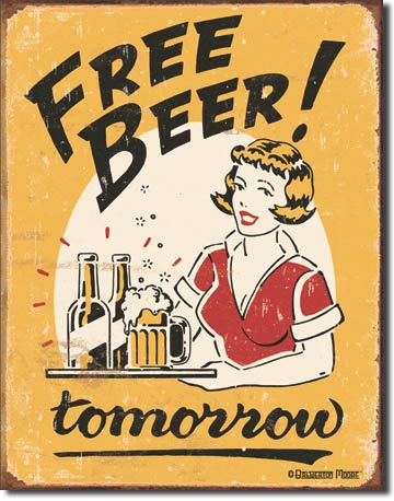 Plechová retro cedule pivo - Free beer
