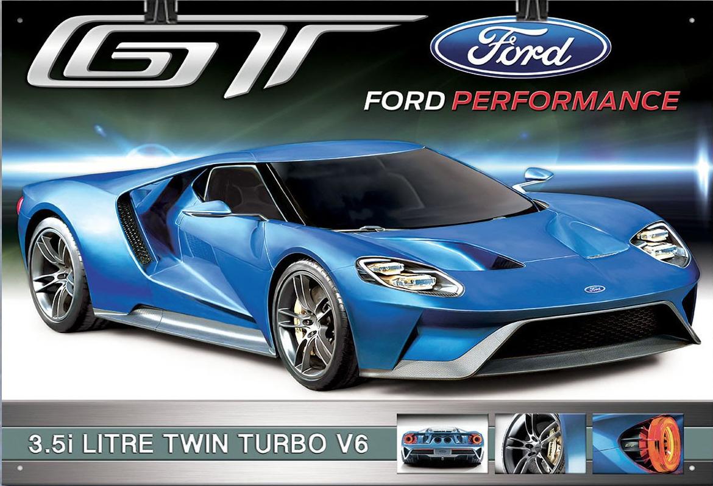 Plechová retro cedule Ford GT wall 3,5l twin turbo V6