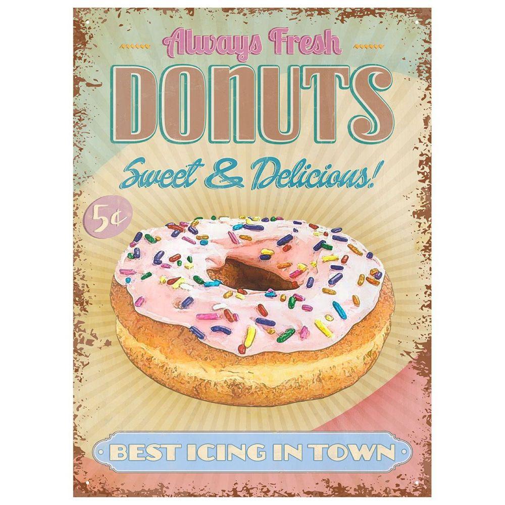 Plechová cedule Donuts - vždy čersvé koblihy sladké a lahodné s nejlepší polevou ve městě