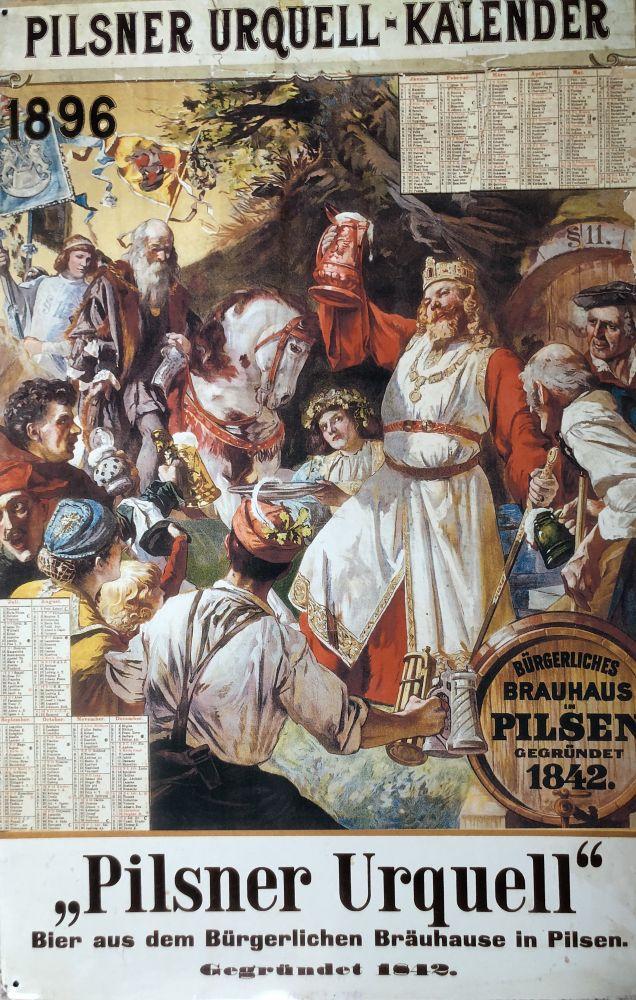Originální plechová cedule Kalendář 1896 Pilsner Urquel