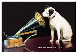 Plechová cedule His master voice