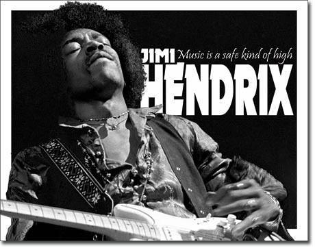 Plechová cedule Jimi Hendrix černobílá