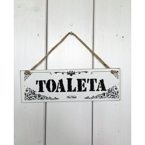 Dřevěná cedule na dveře - tabulka Toaleta