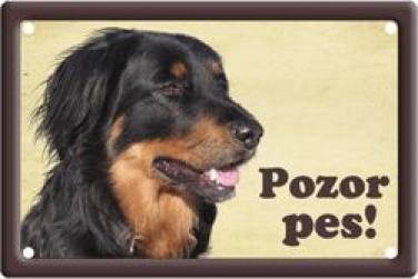 Cedulka Hovaward Pozor pes poškozeno
