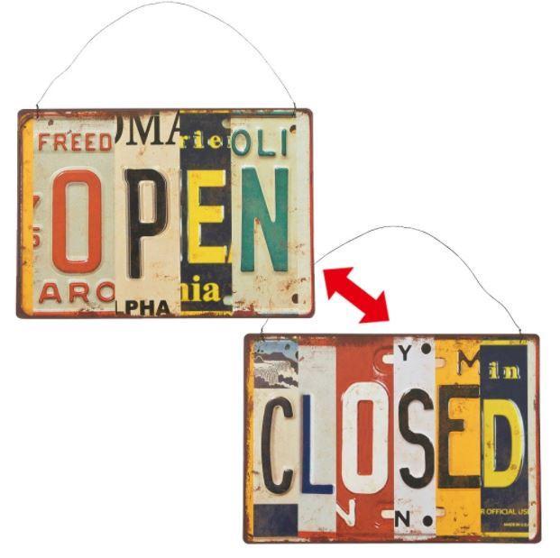 Plechová cedule Open - closed color