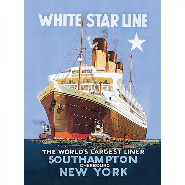 Plechový magnet na lednici loď - Star line New York