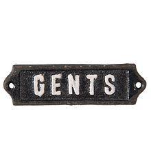 Litinová cedulka na dveře WC - Gents