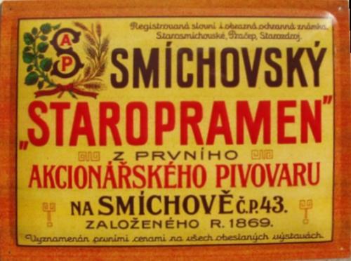 Originální plechová cedule Smíchovský Staropramen