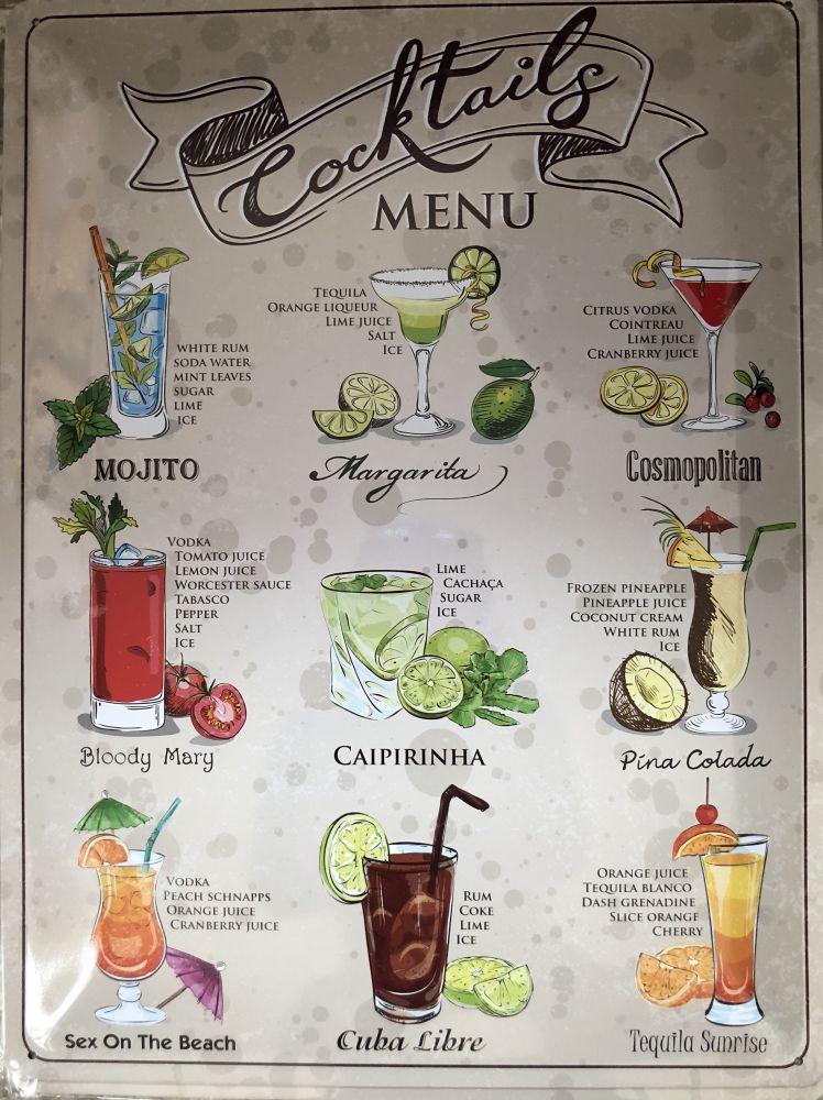 Plechová retro cedule Cocktails menu