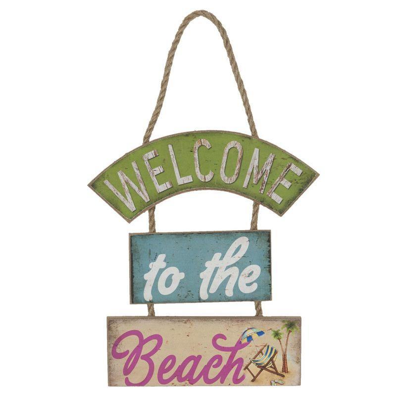 Dřevěná cedule Welcome to the beach