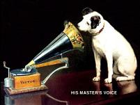 Plechová cedule His master voice střední