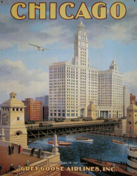 Plechová cedule Chicago