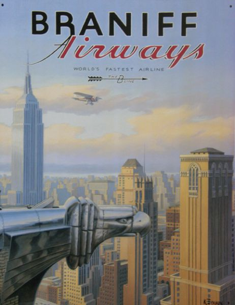 Plechová cedule Braniff airways - New york