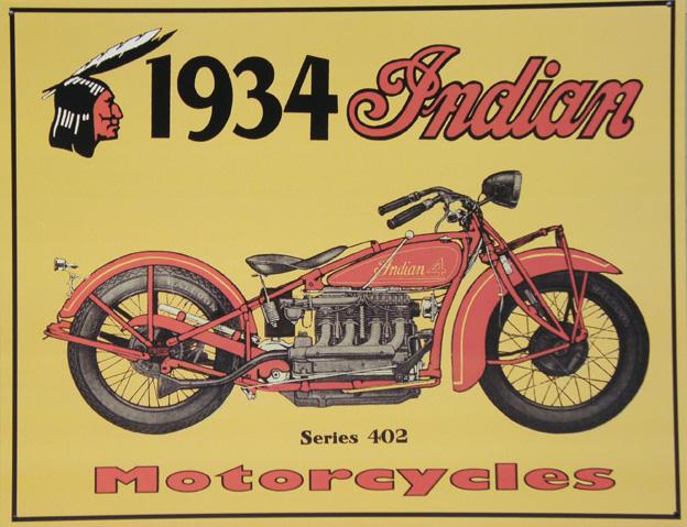 Plechová cedule motorka Indian motorcycle 1934