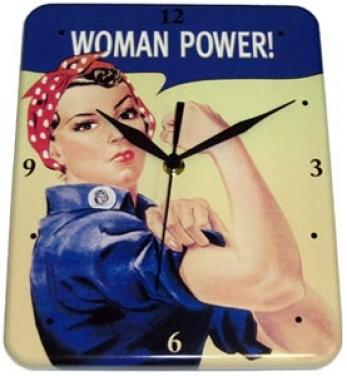 Plechové retro hodinyhodiny Women power - We can do it