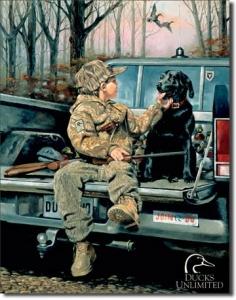 Plechová cedule Labrador na lovu SUPER AKCE!!!!! Ducks Unlimited
