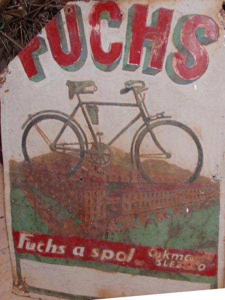 Originální plechová reklamní cedule Kolo Fuchs