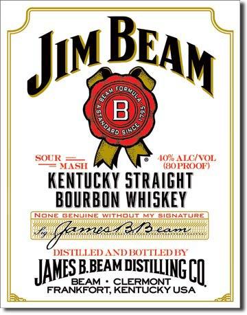 Plechová cedule Jim Beam white