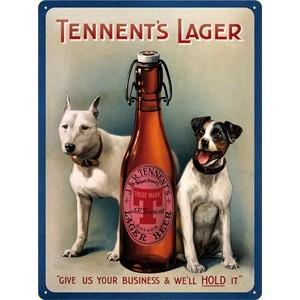 Plechová cedule pivo - Tennents lager beer - pejsci PC300P/P001