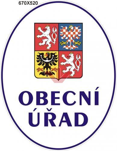 Smaltovaná cedule Obecní úřad se státním znakem