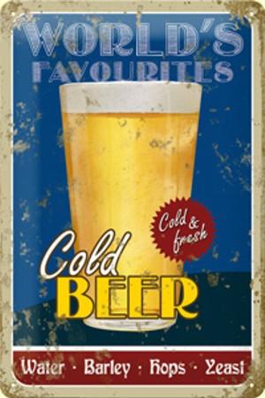 Plechová cedule pivo Cold Beer PC