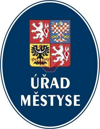 Smaltovaná cedule Úřad městyse se státním znakem