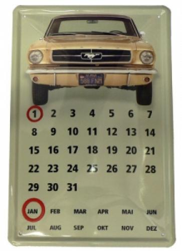 Plechová cedule kalendář Mustang