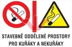 Cedule - Stavebně oddělené prostory pro kuřáky a nekuřáky