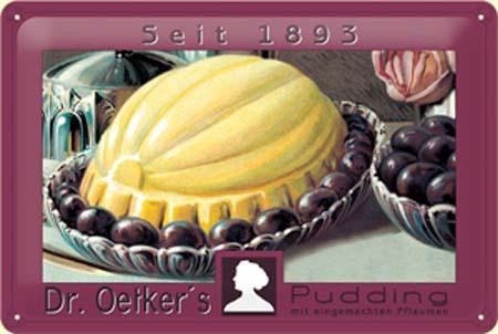 Plechová cedule Dr. Oetkers pudding 1893 - červené víno
