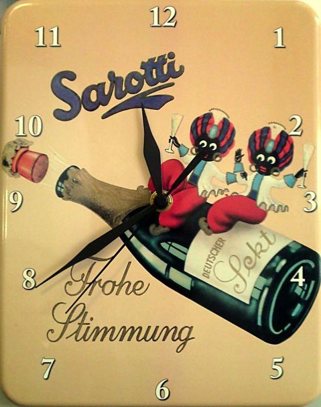 Plechové hodiny Sarotti láhev