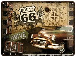 Plechová cedule Route 66 Drive EAT