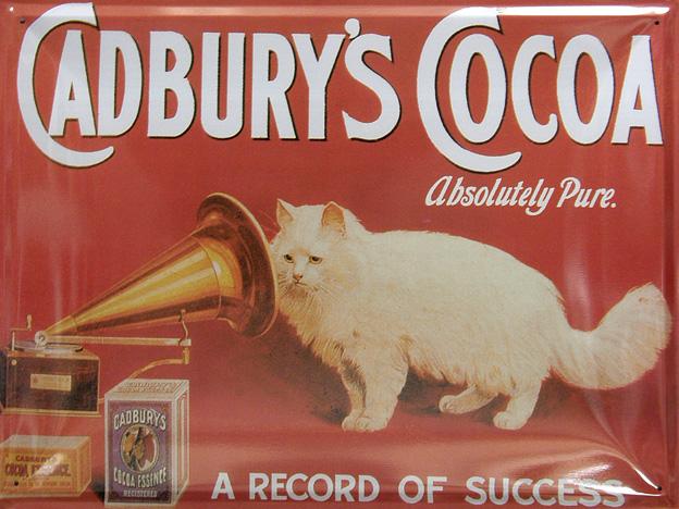 Plechová cedulka Cadbury´s Cocoa - kočka