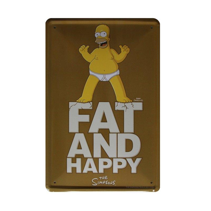 Plechová cedule The Simpsons - Homer Fat and happy - Tlustý a šťastný :)