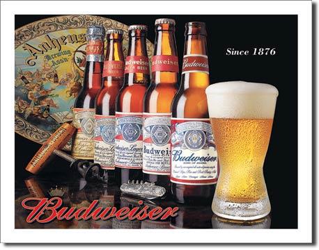 Plechová cedule pivo Budweiser - since 1876