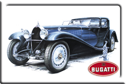 Plechová cedulka Bugatti