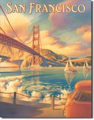 Plechová cedule San Francisco - Golden Gate