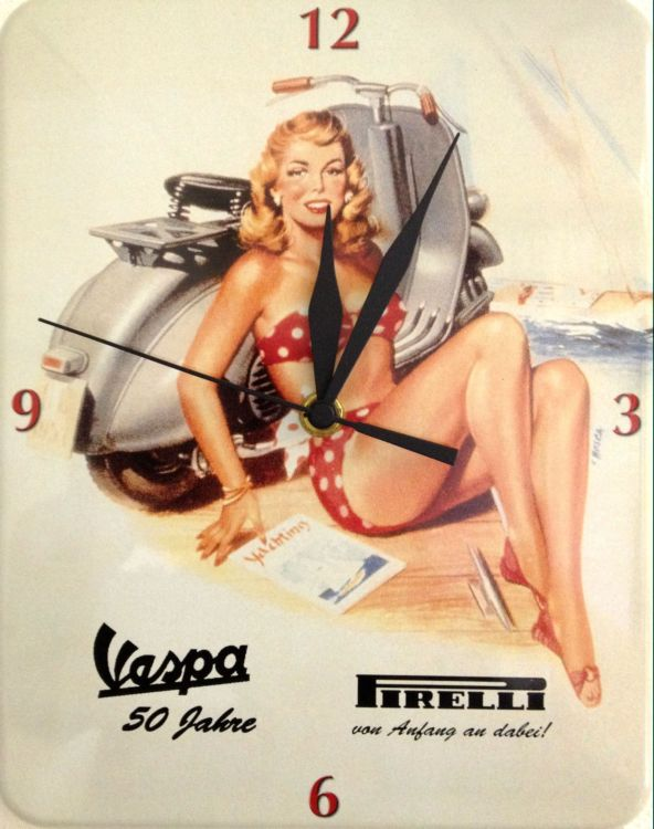 Plechové retro hodiny Pirelli Vespa WC08