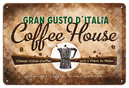 Plechová retro cedule Coffee house