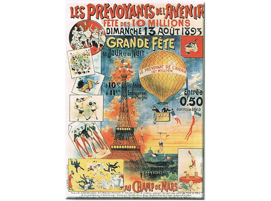 Plechová retro cedule Grande Féte - Eiffelovka - Paris